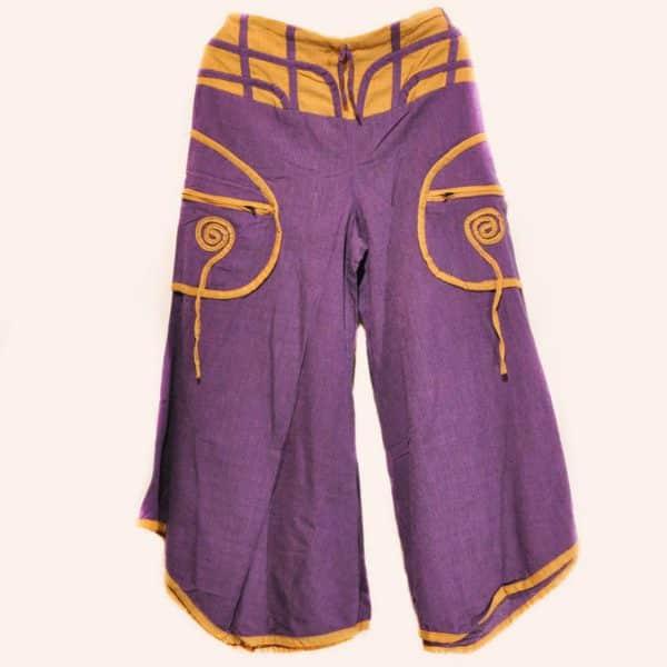 Фиолетово-жёлтые брюки клеш