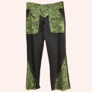 Чёрно-зелёные брюки