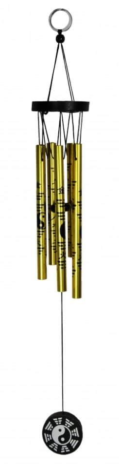 Музыка ветра Инь-янь золотистый (5 трубок)