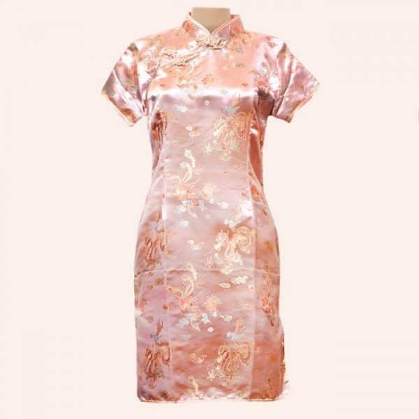Платье в китайском стиле розовое
