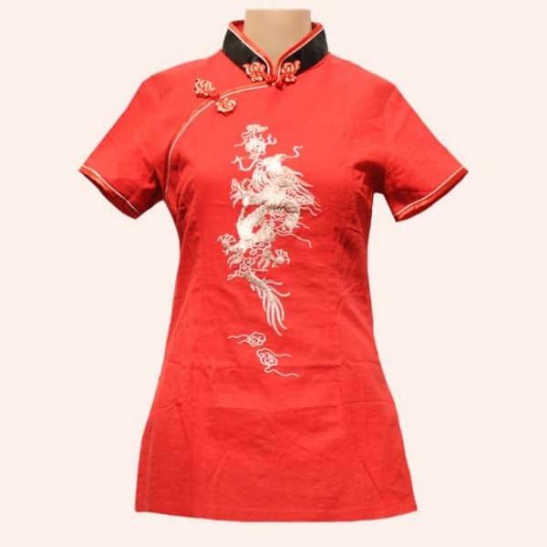 Красная китайская блузка