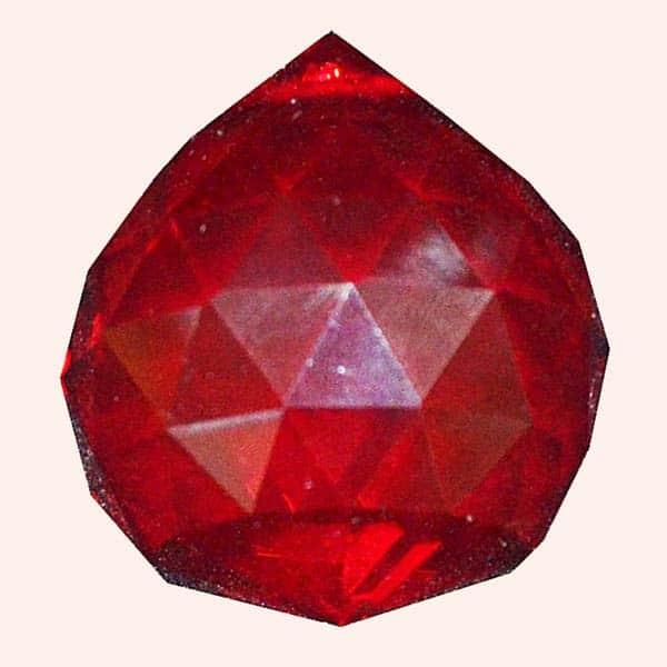 Кристалл Фен Шуй 3.5 см красный