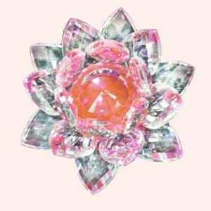 Хрустальный лотос 12 см с розовой сердцевиной