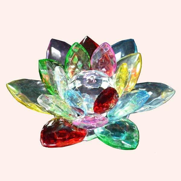 Хрустальный разноцветный лотос 8 см