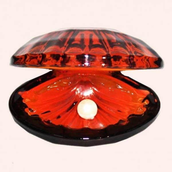 Ракушка с жемчужиной 8 см красная