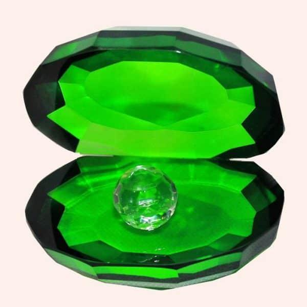 Ракушка с жемчужиной 8.3 см зеленая