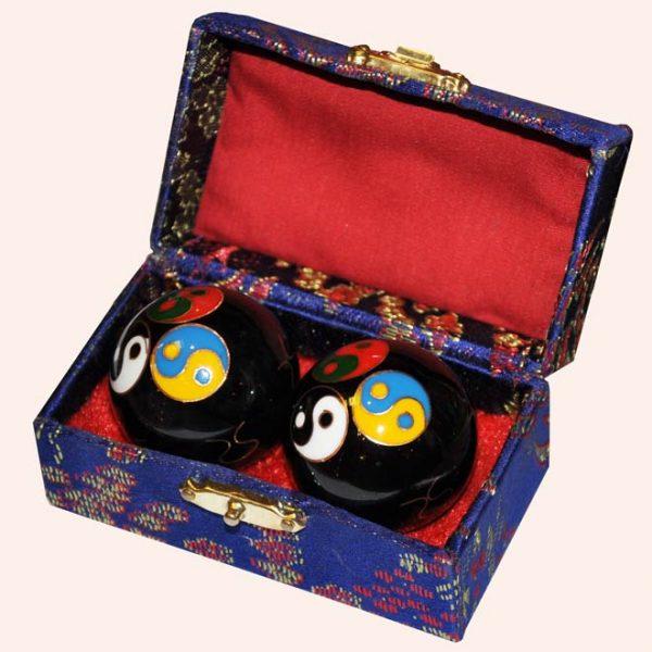 Музыкальные шары здоровья 3.5см чёрные инь-янь