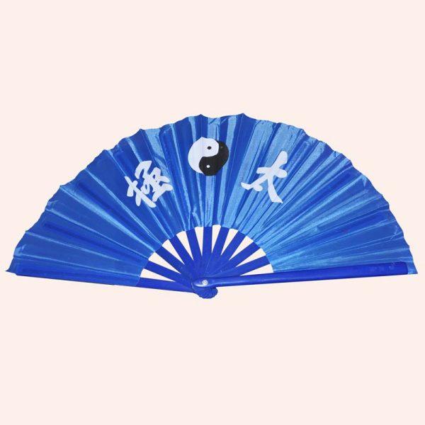 Китайский веер для танца Инь Янь синий