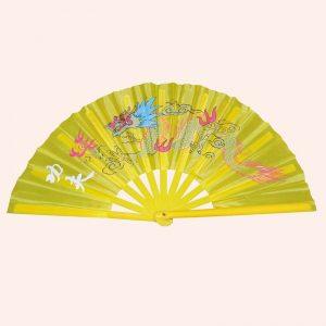 Китайский веер для танца жёлтый с драконом