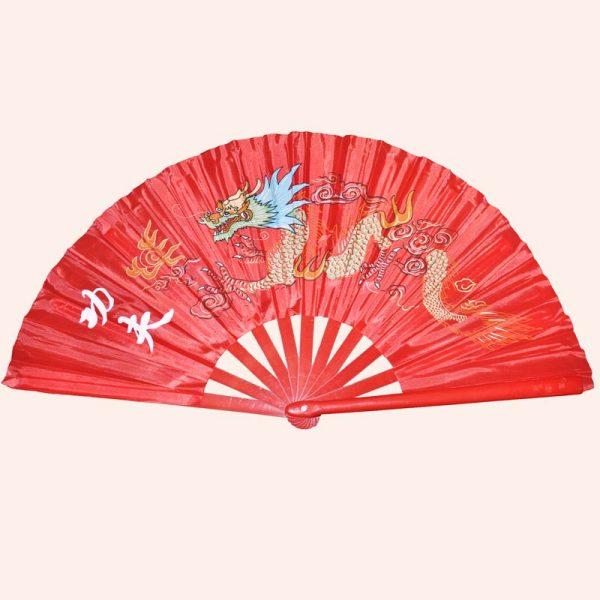 Китайский веер для танца красный с драконом
