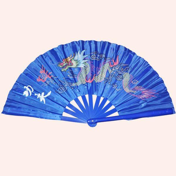 Китайский веер для танца синий с драконом