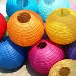 Китайские подвесные фонарики из ткани и бумаги