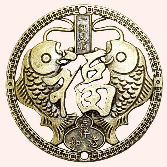 Китайская монета Два карпа 6 см