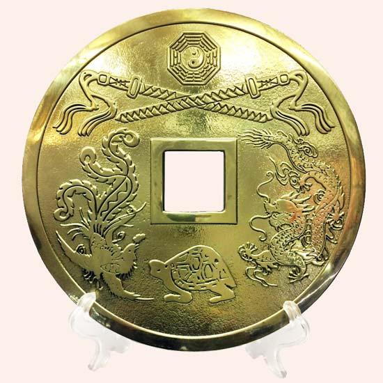 Китайская монета большая 19 см с подставкой