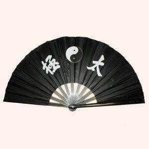 Китайский веер для танца Инь Янь черный