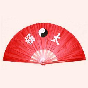 Китайский веер для танца Инь Янь красный