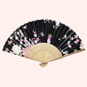 Веер из бамбука и шелка чёрный