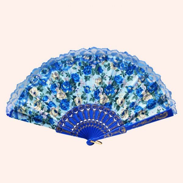 Веер с цветами синий