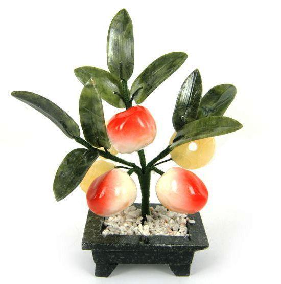 Дерево счастья 3 персика и монеты 17см