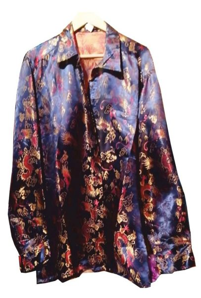 Синий пиджак из шёлка