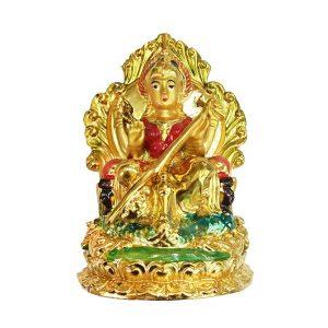 Богиня Сарасвати Золотая в Лотосе