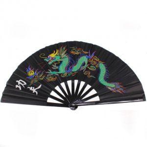 Китайский веер для танца чёрный с драконом