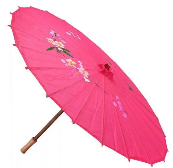Китайский декоративный зонтик розовый
