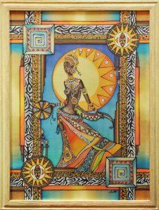 Батик картина Африканка
