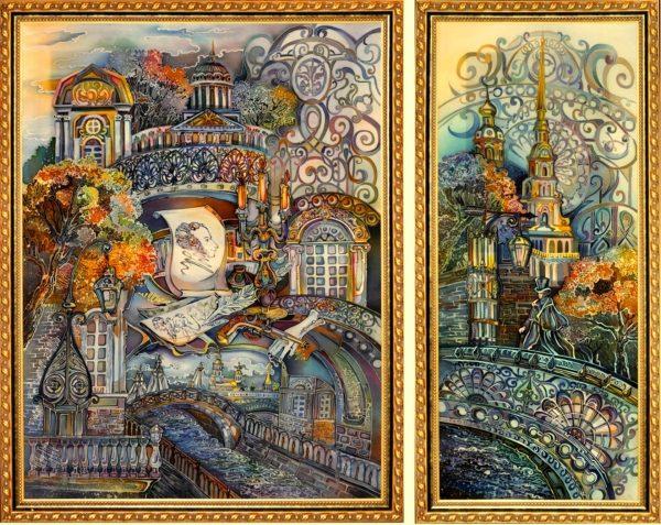 Диптих: Батик - Санкт-Петербург - Пушкин