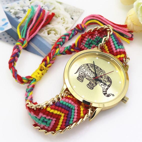 Часы со Слоном с плетёным браслетом