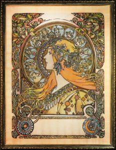 Батик копия работы Альфонса Мухи