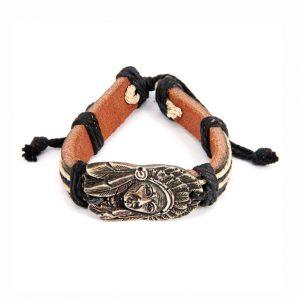 Кожаный браслет Индеец