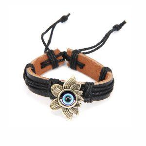 Кожаный браслет от сглаза с лотосом