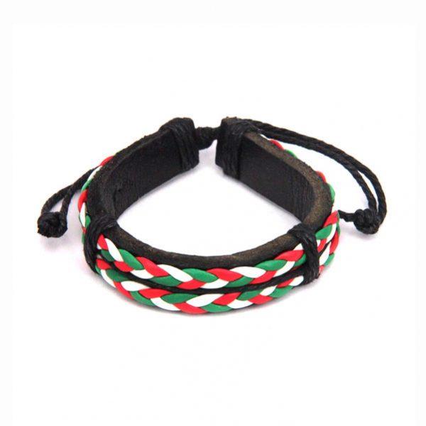 Кожаный браслет с плетением