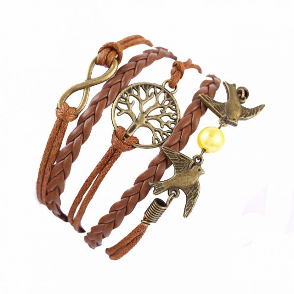 Кожаный браслет Птицы
