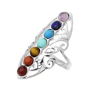 Кольцо 7 чакр с натуральными камнями