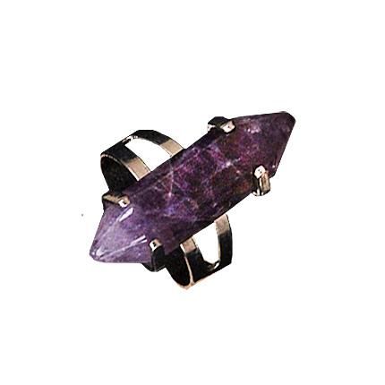 Кольцо с натуральным камнем Аметист безразмерное