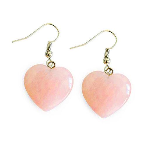 Серьги сердце из розового кварца