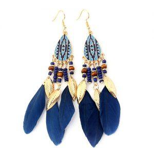Серьги восточные с синими перьями