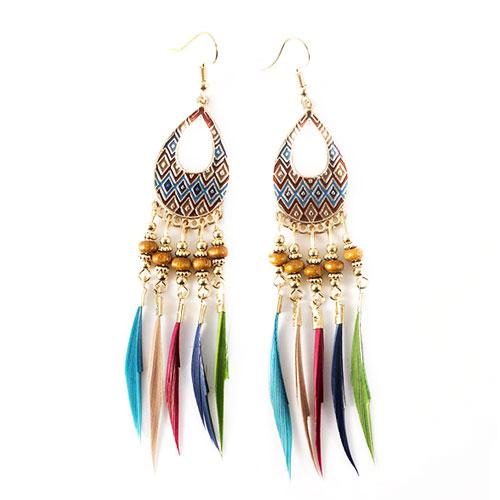 Серьги восточные с цветными перьями