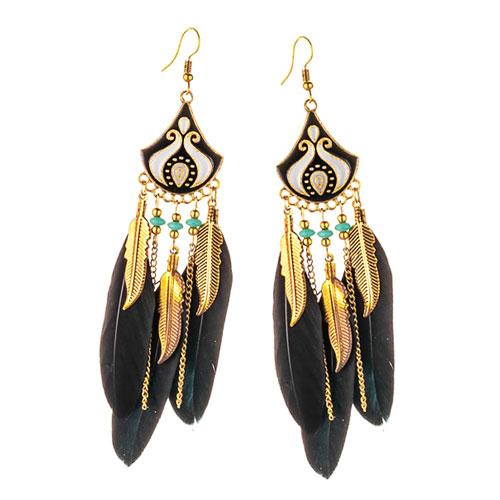 Серьги восточные с чёрными перьями
