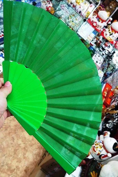 Китайский веер для танца зеленый 1