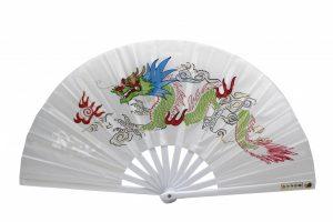 Китайский веер для танца белый с драконом