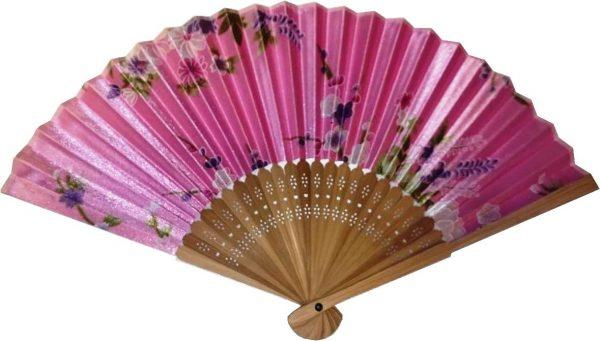 Веер из бамбука и шелка розовый