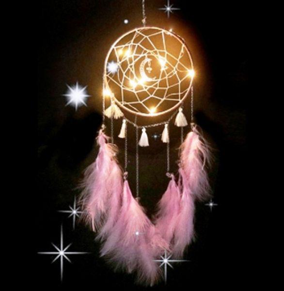 Ловец снов с подсветкой розовый