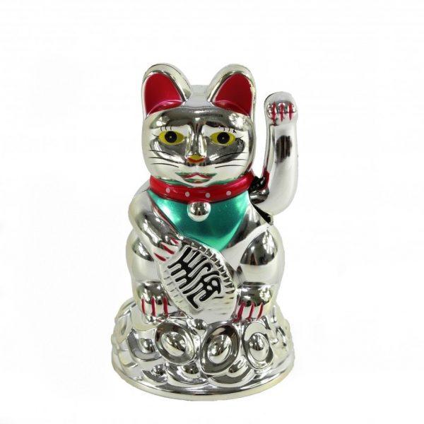 Кот удачи на слитках серебряный